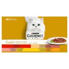Gourmet Gold Pełnoporcjowa karma dla dorosłych kotów kawałki w sosie 340 g (4 x 85 g)