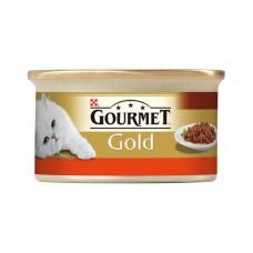 Gourmet Gold Pełnoporcjowa karma dla kotów z wołowiną i kurczakiem w sosie z pomidorami 85 g