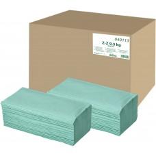 Skládaný ručník Z-Z  9.5 kg zelený 1-vrstvý, recyklovaný
