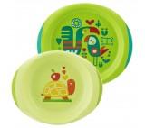 Chicco Jídelní sada - talíř,miska 12m+, zelená