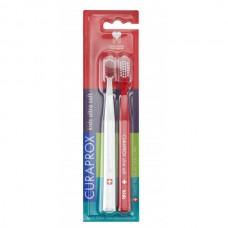 Curaprox Velmi jemný zubní kartáček pro děti Kids Ultra Soft (Duo Pack Special Edition / Red & White)