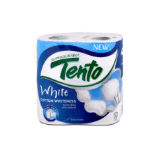Tento White Cotton Whiteness Toilet Paper 4 Rolls